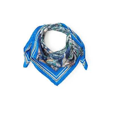 Le foulard 100% soie  Basler bleu