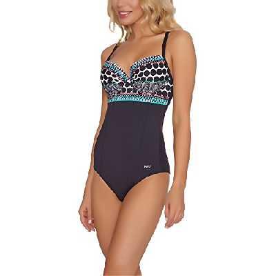 Feba Monokini Push Up Maillot de Bain 1 Pièce Amincissant Gainant Vêtement Plage Été Femme SC1RL2T (Noir/Turquoise, EU Cup 90D/Bottom 44 (FR 105D/46))