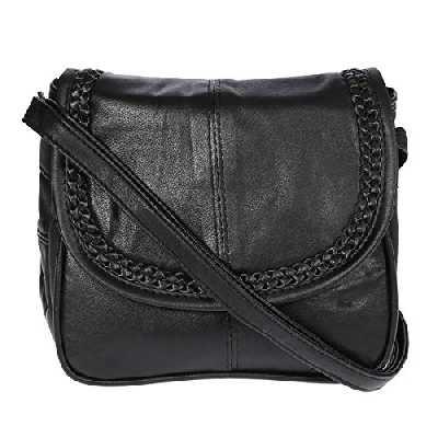 Petit sac à main en cuir d'agneau - Pour femme - Noir - Noir (22 x 19 cm), 22x19 cm