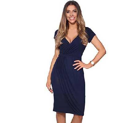 KRISP Robe Courte Femme Cache-Coeur Mode Chic Col V, Bleu Marine, 38, (6678-NVY-10)