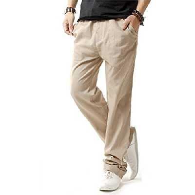 Hoerev - Pantalons décontractée de plage été - Homme - Beige - M(Taille 34
