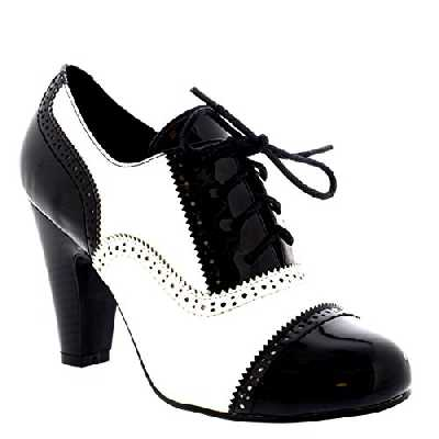 VIVA Femmes Bloc Mi Talon Chaussez Soir Travail Mary Jane Bottines Chaussure - Noir/Blanc Brevet - UK5/EU38 - KL0007B