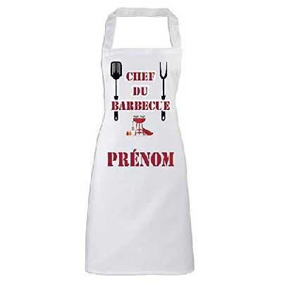 YONACREA - Tablier de Cuisine - Chef du Barbecue - avec Prénom personnalisé
