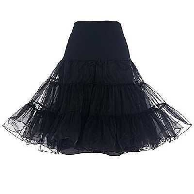 Dresstells Jupon années 50 Vintage en Tulle Rockabilly Petticoat Longueur 66cm/26, Noir, M