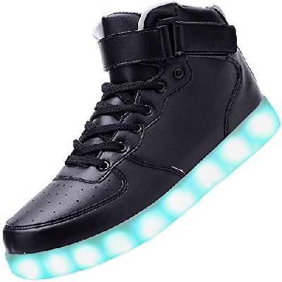 PADGENE Chaussures de Sport Montantes à LED Clignotantes Rechargeables par USB (45 EU, Noir)