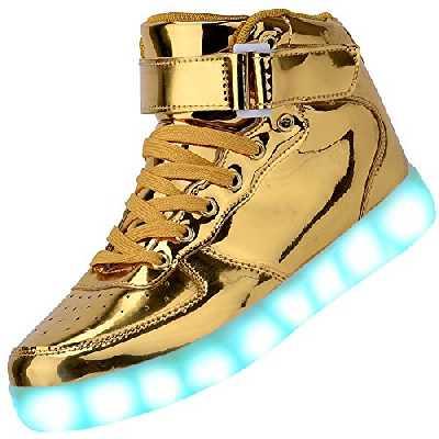 PADGENE Chaussures de Sport Montantes à LED Clignotantes Rechargeables par USB (42 EU, Or)