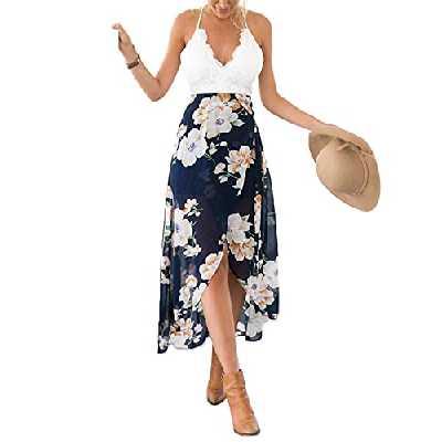 Blooming Jelly Femme Robe Floral Halter Neck V Profond asymétrique avec Dentelle,Blanc,L