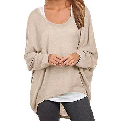 ZANZEA Femme Pull Casual Grande Taillle Tops Automne Irrégulier Manches Chauve-Souris Pullover Chic Oversize T Shirt Manche Longue Sweat Shirt 01-Beige L