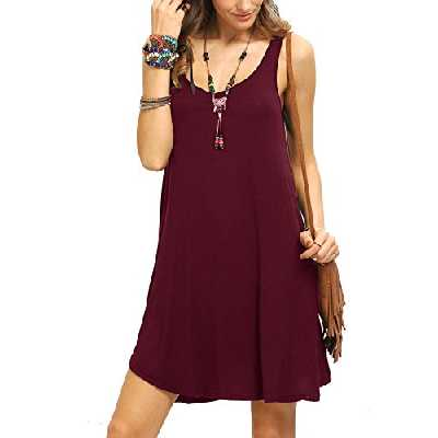 ROMWE Femme Mini Robe Col Rond sans Manches Robe Courte United Relaxed Casual S Bordeux