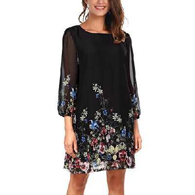 Djt Femme Robe Manches Longues en Fleur Mousseline de Soie Noir XL