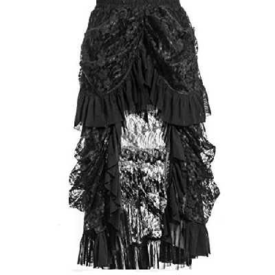 Zooma Sexy Femmes Gothique Vintage Jupe Dentelle Costume Steampunk Corset Robe, Noir, L