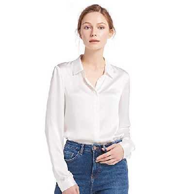 LilySilk Chemise Basique Femme en Soie Chemisier Fluide Uni Top Manches Longues Coupe Classique Confortable Blouse Féminin Décontracté 22 Momme L Blanc Brillant
