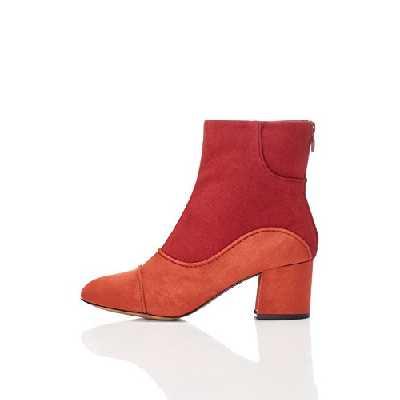 find. Bottines en Daim Style Années 60 avec Zip Arrière Femme, Multicolore (Rust/red), 37 EU