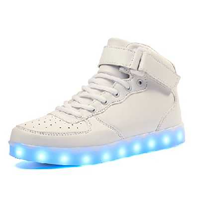 Voovix Baskets Montants Enfant LED Lumières Multicolores avec Télécommande-Chaussures USB Rechargeable pour Garçons et Filles (Blanc,36EU/36CN)