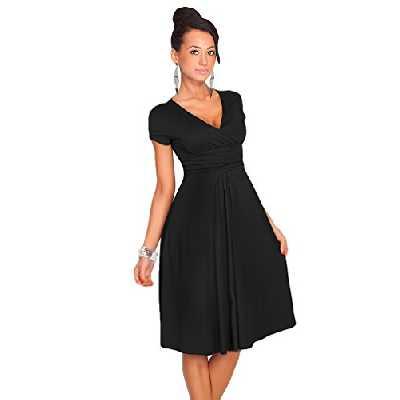 YuanDian Femme été Elegante Profond V Col Manche Courte Taille Empire Patineuse Robe Longueur Genoux Midi Swing Robes Noir L