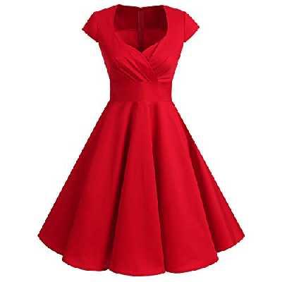 Bbonlinedress Robe Femme de Cocktail Vintage Rockabilly Robe plissée au Genou sans Manches col carré Rétro Red L