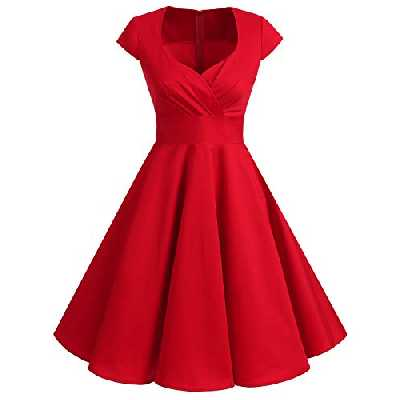 Bbonlinedress Robe Femme de Cocktail Vintage Rockabilly Robe plissée au Genou sans Manches col carré Rétro Red L