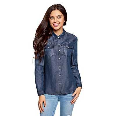 oodji Ultra Femme Chemise à Boutons Pression avec Poches de Poitrine, Bleu, FR 38 / S