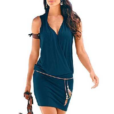 SUNNOW Elégante Tunique Robe Femmes Casual d'été sans Manches Col V Profond Robe de Plage Mini Robes T-Shirt Party Robe Court Mini Robe (S, Bleu Foncé)