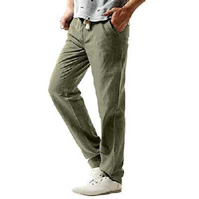 MODCHOK Homme Pantalons Jogging Long Pants Loose Coupe Droite Survêtement Sport - Vert armée - Taille L