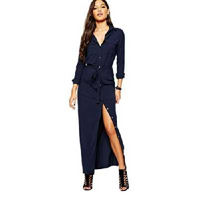 YAANCUN Femme 2017 Sexy Chemise Robe Manches Longues Mode Casual Tunique Robe Longue Robe Bleu Marin
