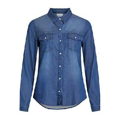 Vila Clothes Vibista Shirt-Noos Chemise, Bleu (Dark Blue Denim Wash: Clean), 38 (Taille Fabricant: Medium) Femme
