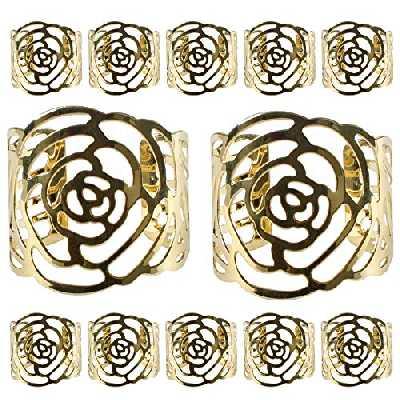 12 Pcs Rond de Serviette, KAKOO Rond de Serviettes de Table Porte-serviettes en Métal Ajouré Motif Fleur Bague Déco Pour Mariage Banquet Anniversaire Fête