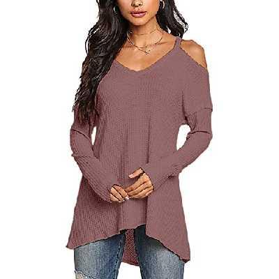 YOINS Femmes Pull Sweater Col V en Tricot Épaules dénudées Pullover Top Blouse Chemise Manche Longue Chandail Lâche Noir M