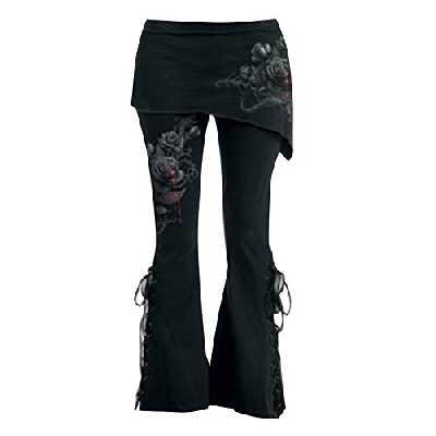 Juleya Femme Pantalon Décontractée Pantalons Longs Pantalon Vintage avec Mini-Jupes Taille Haute Pantalon Noir Leggings Évasé Rétro Gothique Taille Plus