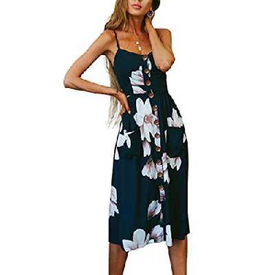Walant Robes pour Femmes mi-Longue à Bretelles Ete Tie Front Col V Manches Courtes Bouton A-Line Sexy Robe Plage d'été Casual Chic Vintage Floraux, Bleu Marin 2, S