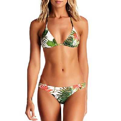 Blooming Jelly Ensemble Bikini Motif Imprimé Floral Brésilien pour Femme - Cou Licou, Triangle Sexy, Ficelles Dos Nu - Maillot de Bain 2 Pièce