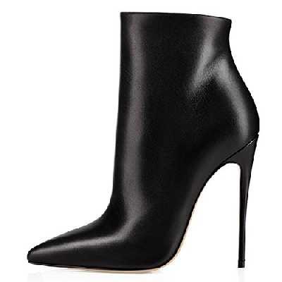 elashe Bottes Classiques Femme | 12cm Bottine à Talon Haut | Zip Stiletto Talons Hauts Ankle Boots Chaussures Noir EU42
