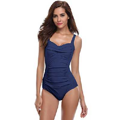 SHEKINI Bikini Femme Body Guide Push up Maillots de Bain Femme 1 Pièce Monokini Rembourré Beachwear Ruché Effet Ventre Plat Triangle Halter Réglable Sport Bikini de Plage (XL, Bleu foncé)