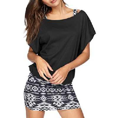JusfItsu Femme T-shirt + Robe d'été Mini 2 pièces Tops Longue Mini Robe Casual Sexy Off Epaule Manche Courte - Noir - X-Large