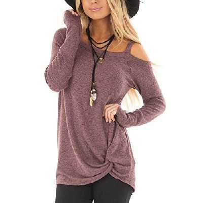 YOINS Femme T-Shirt Épaule Dénudée à Manches Longues Slim Fit Haut Lâche Blouse Casual Loose Solide Sweatshirt Rouge-Marron L