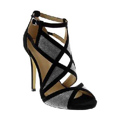 Angkorly - Chaussure Mode Sandale Escarpin Stiletto Peep-Toe lanière Cheville Femme Bicolore lanière Talon Haut Aiguille 11.5 CM - Argent - 628-175 T 36