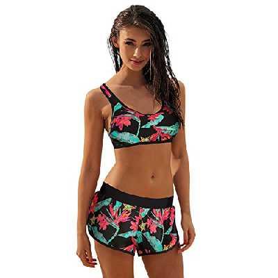 SANFASHION Été Femme Classique Florale Maillots de Bain Style Sport Bikinis 2 Pièces Plage (M, Vert)