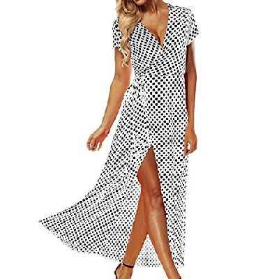 ACHIOOWA Femme Sexy Boho Robe Longue Col V Manches Courtes Maxi Robe de Plage Soirée Cocktail ,646313 / Blanc,XL