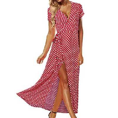 ACHIOOWA Femme Sexy Boho Robe Longue Col V Manches Courtes Maxi Robe de Plage Soirée Cocktail ,646313 / Rouge,S