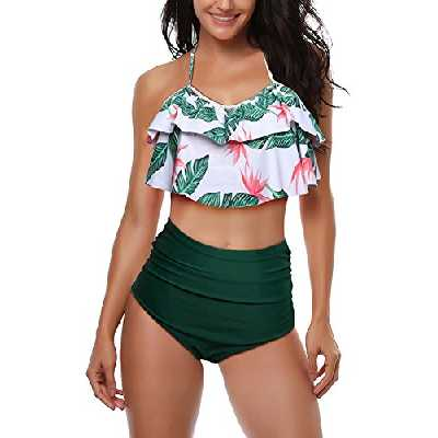 AMAGGIGO Maillot de Bain pour Les Femmes Taille Haute Halter Vintage Push Up Bikini Ensemble Dames Plus La Taille 2 Pièces Maillots de Bain (FBA) (EU 46-48, Vert)