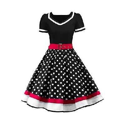 Babyonlinedress Femme Robe de Soirée Chic Jointif avec Ceinture Vintage rétro année 50s pin-up Rockabilly Swing à Pois Noir L