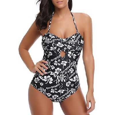 Bmeigo Maillot de Bain 1 pièce Femme Vintage Fleur Monokini Trikini rembourré Push-up Swimwear Beachwear