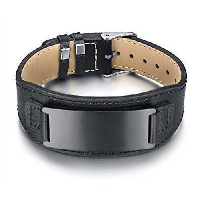 VNOX Personnalisé Noir Marron Bracelet en Cuir Véritable Montre Boucle avec Plaque en Acier Inoxydable, Gravure Gratuite
