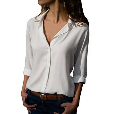 Chemisier Femme en Mousseline de Soie,Manches Longue OL Shirt Couleur Unie Tops Blouse de Bureau de Travail Bringbring
