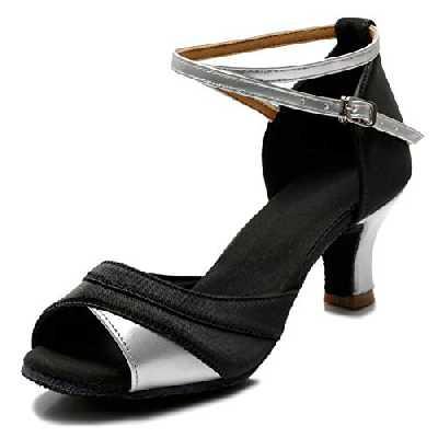 TRIWORIAE-Chaussures de Danse Latine Talons Hauts Sandales pour Femme Argent 40(Talon 5cm)