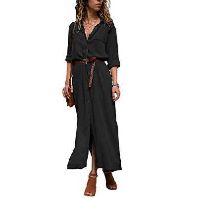 Dokotoo Robe Femme Maxi Manches Longues Chemise Robe Split avec Centure S-XL, A-noir, XL(EU48-50)