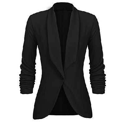 UNibelle Blazer Femme Noir Veste Blazers Veste De Costume Manche 3/4 Casual Slim Court Chic Noir,XXL