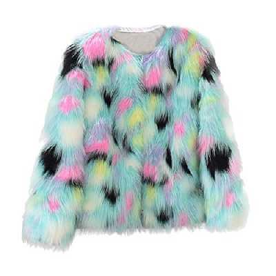 JERFER Femmes Casual Mode Hiver Chaud Manteau en Fausse Fourrure Veste Hiver Gradient Couleur Parka