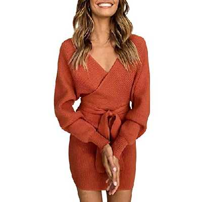 Asskdan Femme Elégant Robe Pull Tricoté Col V Croisé Manche Longue Robe Crayon avec Ceinture (Rouge, XL)