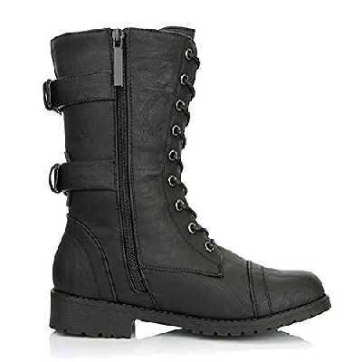 Minetom Bottine Femmes Plates Boots Femme Cuir Cheville Basse Bottes Talon Chelsea Chic Compensé Grande Taille Chaussures 5cm Beige Bleu Gris Noir 35-43 Noir 40 EU